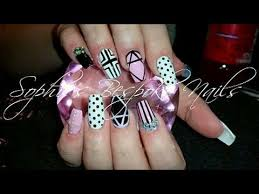 acrylic nails l pink u0026 white girly l nail design youtube