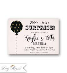 18th Birthday Invitation Card Surprise 18th Birthday Invitations Pink Gold And Black Party