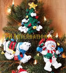 bucilla snowman polar 6 pce felt ornament kit