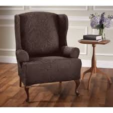 sure fit slipcovers wing chair sure fit jacquard damask wing chair slipcover chocolate brown