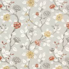 Roman Upholstery Grey Floral Cotton Upholstery Fabric Orange Grey Linen Curtain