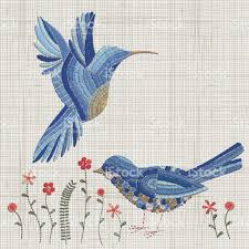 embroidered home decor fabric embroidery blue bird and pink flowers vector embroidery home decor