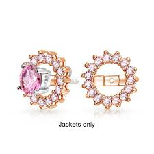 earring jackets for studs gold vermeil pink topaz color cz earring jackets for studs