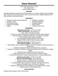 Millwright Resume Sample by Resume Samples For Warehouse Resume For Your Job Application