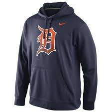 detroit tigers nike logo performance navy blue mlb hoodie at
