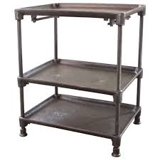Kitchen Side Table by Vintage Industrial Three Tier Adjustable Cast Iron And Steel Side