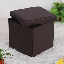 songmics faux leather folding storage ottoman cube foot rest stool