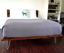 platform bed and headboard queen size on hairpin legs minimal