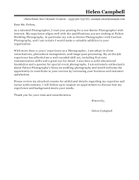 leading professional senior photographer cover letter examples