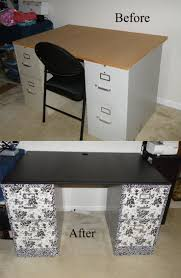sewing desk diy 2 filing cabinets covered with contact paper and