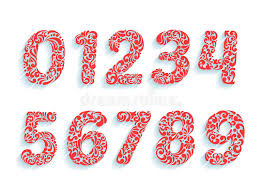 decorative numbers font floral ornament in all numbers shapes