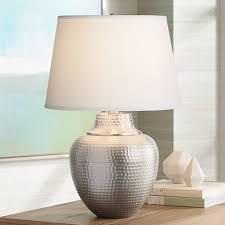 Nickel Table Lamp Brighton Hammered Pot Brushed Nickel Table Lamp X4787 Lamps Plus