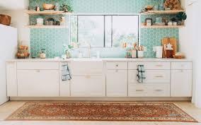 white kitchen cabinets with aqua backsplash our tropical bohemian kitchen renovation reveal elanaloo