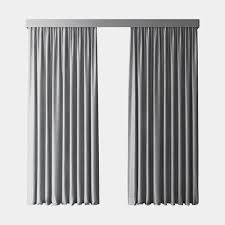 Blackout Curtains Gray 3d Model Gray Blackout Curtains Cgtrader