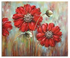 shining stars floral painting on canvas red flower wall art home