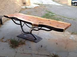 made steel tree table base with juniper slab top by steel it