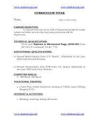 Sample Resume Format For Civil Engineer Fresher Sample Resume For Mechanical Engineer Fresher Sample Resume Cover
