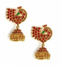 peacock design earrings in gold jhumkas earrings studded gold finish peacock design