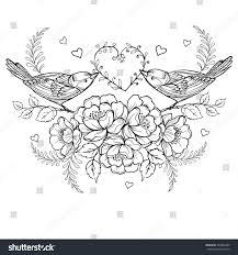 birds heart roses anti stress coloring stock vector 354804380
