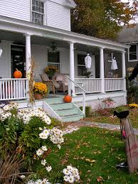 front porch decorate house for halloween mixed vaulted wooden