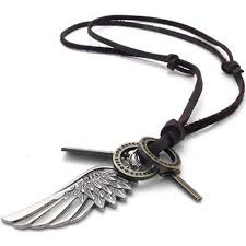 leather mens necklace images Konov mens vintage angel wing cross pendant brown jpg