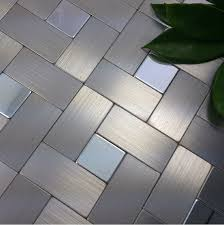 Brushed Silver Metal Mosaic Wall Tiles Backsplash ALMT - Stainless steel backsplash reviews
