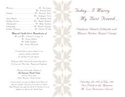 memorial program wording wedding ideas awesome one sided wedding program template image