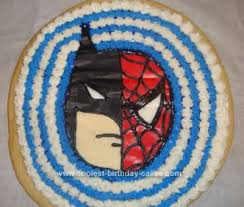 coolest batman spiderman cookie cake idea