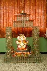 Home Temple Decoration Ideas Ecofriendly Ganpati Decoration Ideas Leaves Pinterest