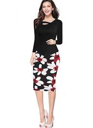 peplum wear long sleeves bodycon print women floral work pencil