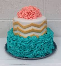 Chevron Teal Rosettes And Coral Carnations Birthday Cake I Made