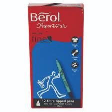 kelly s cabinet supply lakeland berol black water based colourfine pens wallet pack of 12 s0376300