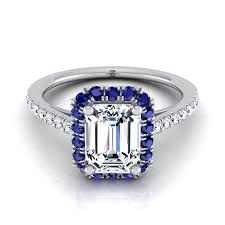 sapphire emerald cut engagement rings elevated sapphire halo emerald cut engagement ring 14k white gold