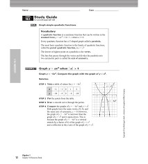 Mcgraw Hill Worksheet Answers Algebra 1 Chapter 10 Quadratic Equations And Functions Jennarocca