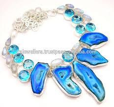topaz stone necklace images Blue topaz moonstone druzy gemstone statement necklace 925 jpg