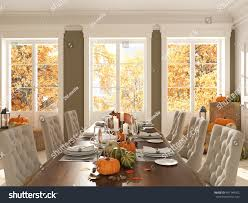 cozy nordic kitchen apartment thanksgiving fall stock illustration