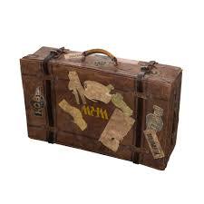 vintage british leather locking large suitcase with straps