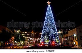 light up xmas decorations israel haifa the city is lit up with christmas decorations stock