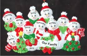 snow family with tree for 10 personalized