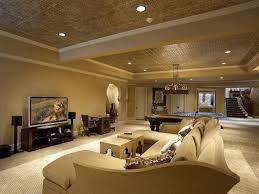 basement family room ideas exotic animal skin rug buil in wooden