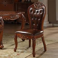 Quality Leather Dining Chairs American Style Exquisite Workmanship Solid Wooden Carving And High