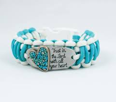 faith gifts trust in the lord turquoise heart paracord bracelet