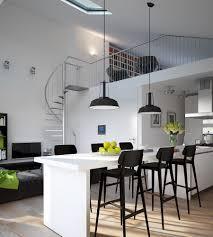 indoor modern interior design kitchen apartment with white table indoor modern interior design kitchen apartment with white table and black chairs plus two chandelier