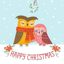 christmas greeting card with cute owl family royalty free cliparts