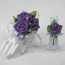 purple corsage purple foam on silver prom corsage boutonniere