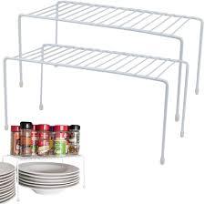 kitchen cabinet storage containers evelots kitchen cabinet counter shelf organizer space sturdy metal set 2