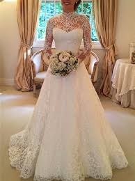 stylish dresses buy stylish high neck sleeves sweep lace wedding dress