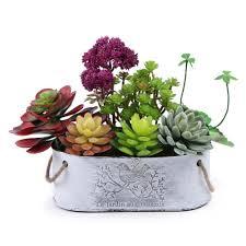 plant for home decoration mkono potted artificial succulents plants faux succulent planter