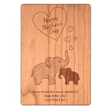 mom and baby elephant mother u0027s day wood postcard