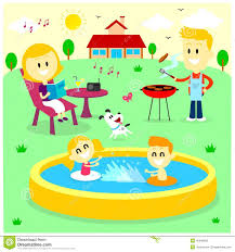 The Backyard by Family Fun Time At The Backyard House Stock Vector Image 45846662